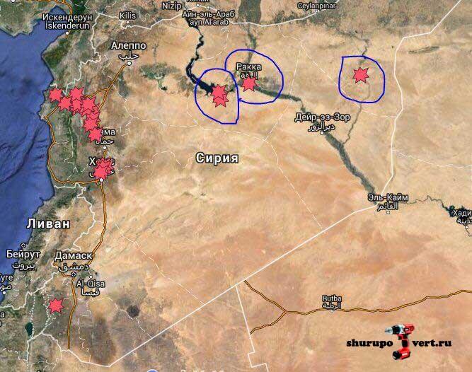 Карта районов нанесения авиаударов российской авиацией в Сирии