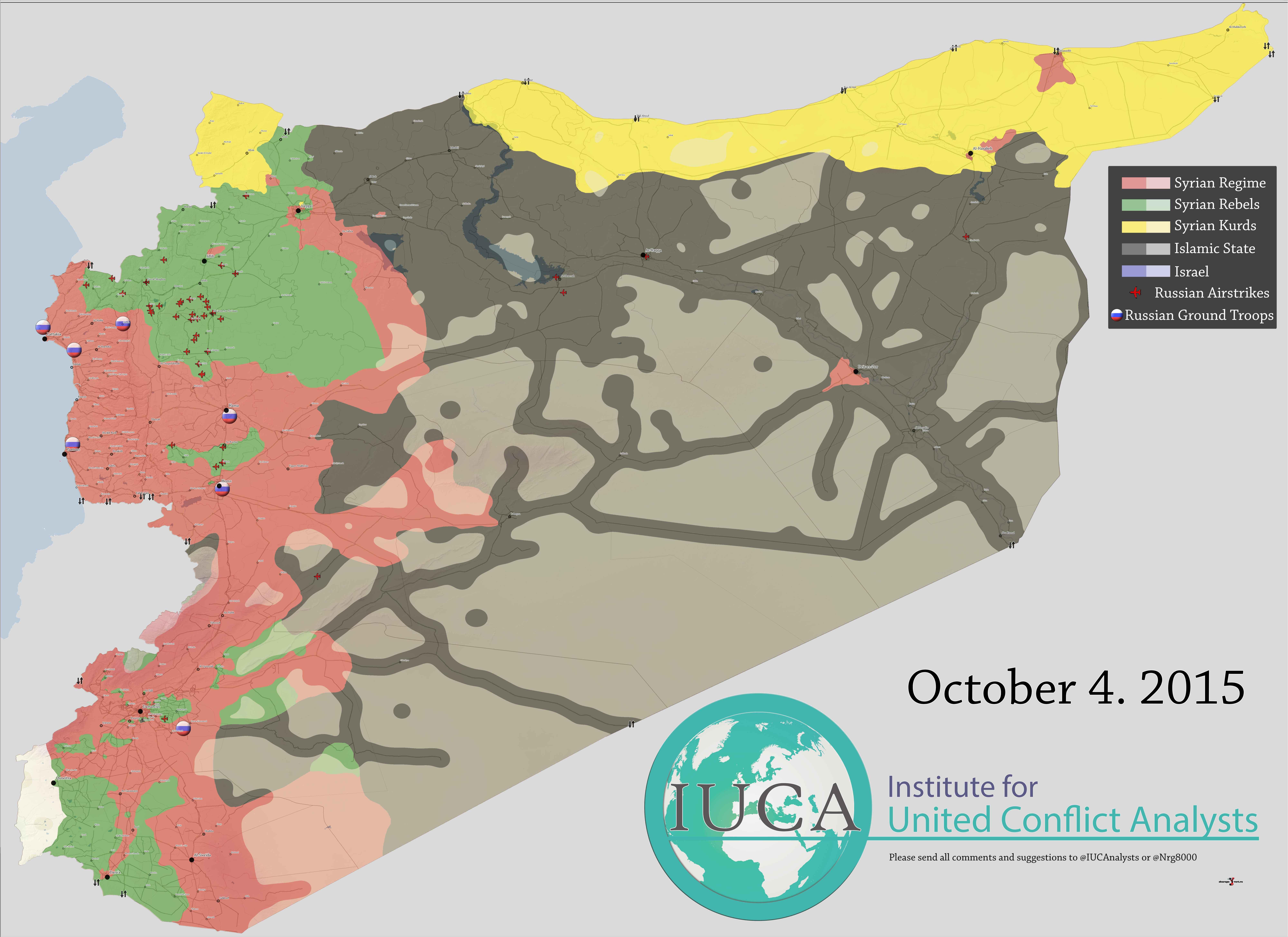 Подробная карта Сирии с расстановкой всех сил конфликта (Асад, ИГИЛ, оппозиция, курды) и мест нанесения авиаударов российских войск октябрь 2015 года