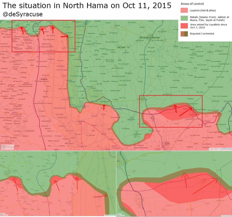Результат наступления сил Асада в Хама, при поддержке Хезболлы, Ирана и России