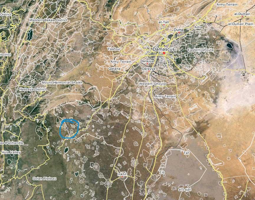 Общее место положение боев в Кунейтра, по отношению к Дамаску