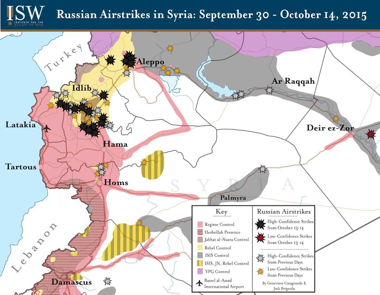 Карта авиаударов российского экспедиционного корпуса в Сирии с 30 сентября по 14 октября 2015