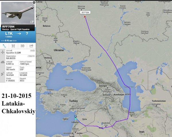 Маршрут самолетов ВВС России в Сирию