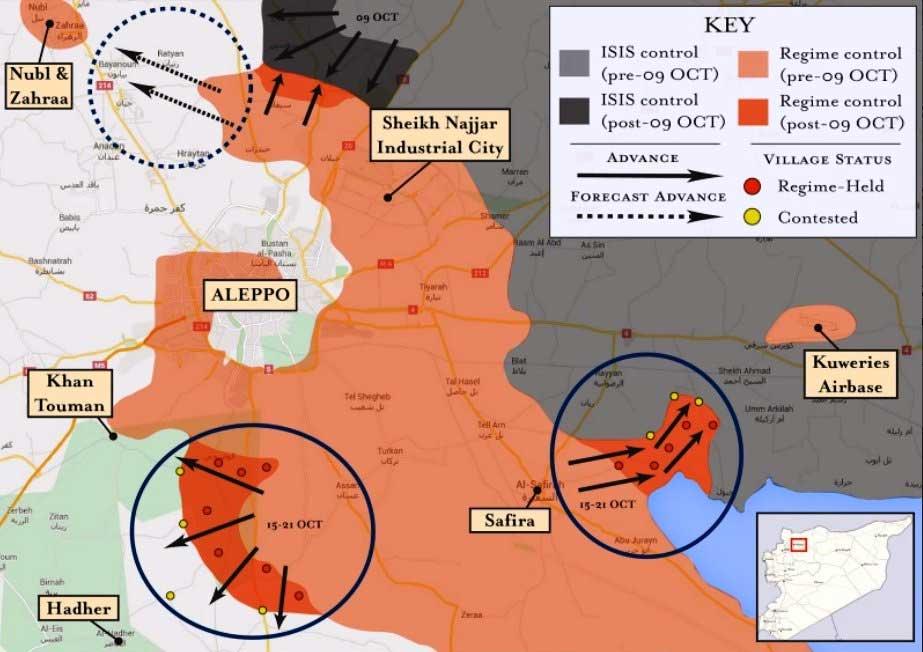 Основные направления наступления Асада, в Алеппо, Сирия