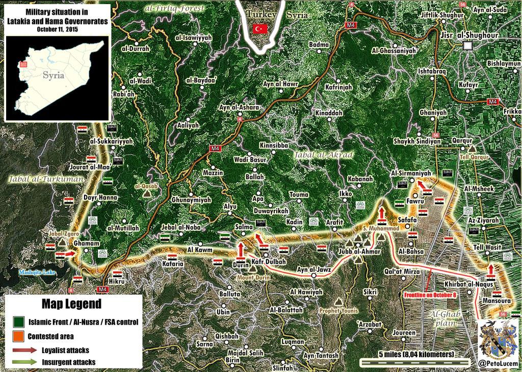 Успехи совместного наступления сил Асада, Ирана, Хезболлы при поддержке войск РФ в Латакии и Западном Хомсе