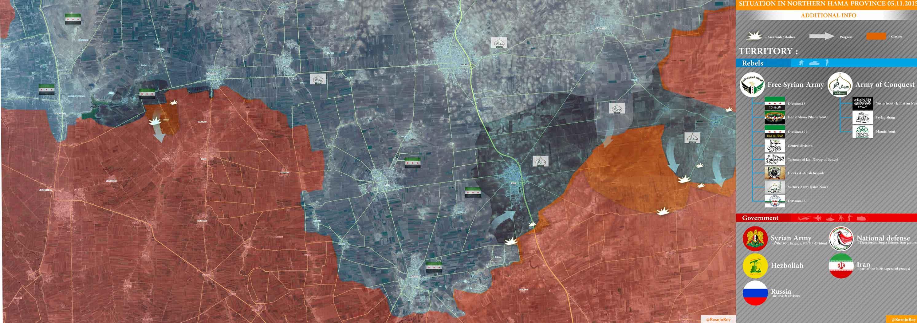 Карта провинции Хама, новые завоевания оппозиции, направления наступления