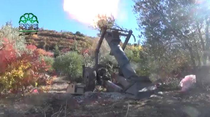 Самодельный 230 мм миномет сирийских повстанцев в горах Латакии, Сирия