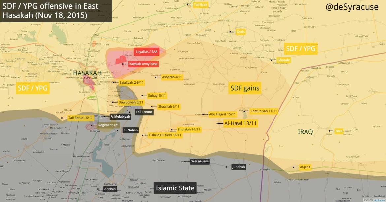 Наступление сирийской оппозиции и курдской YPG на позиции ИГИЛ, карта обстановки в Восточной Хасаке в зоне действия SDF/YPG  по состоянию на 31 октября 2015