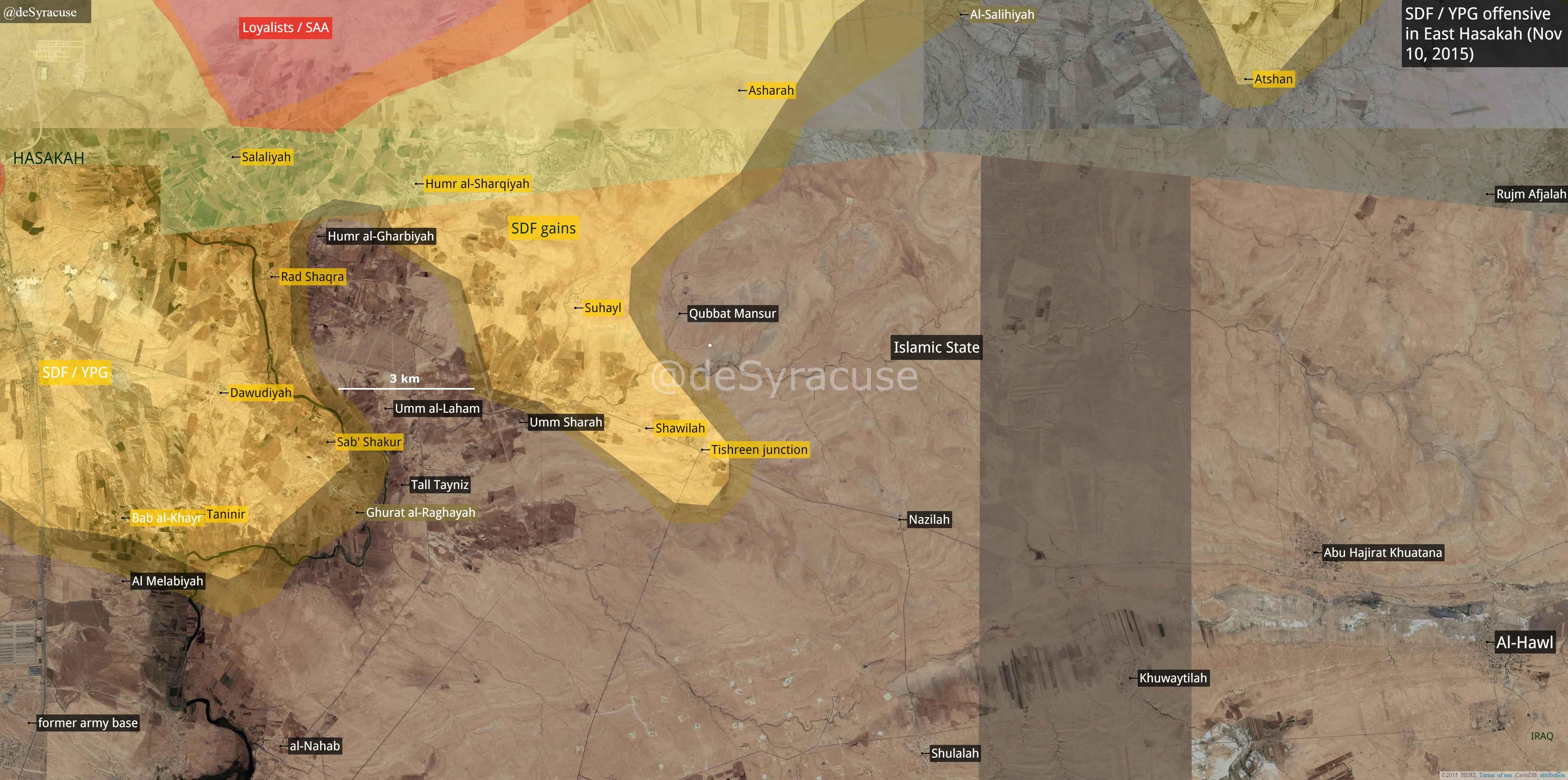 Ход военной компании сирийской оппозиции и курдов в Хасаке, 10 ноября 2015