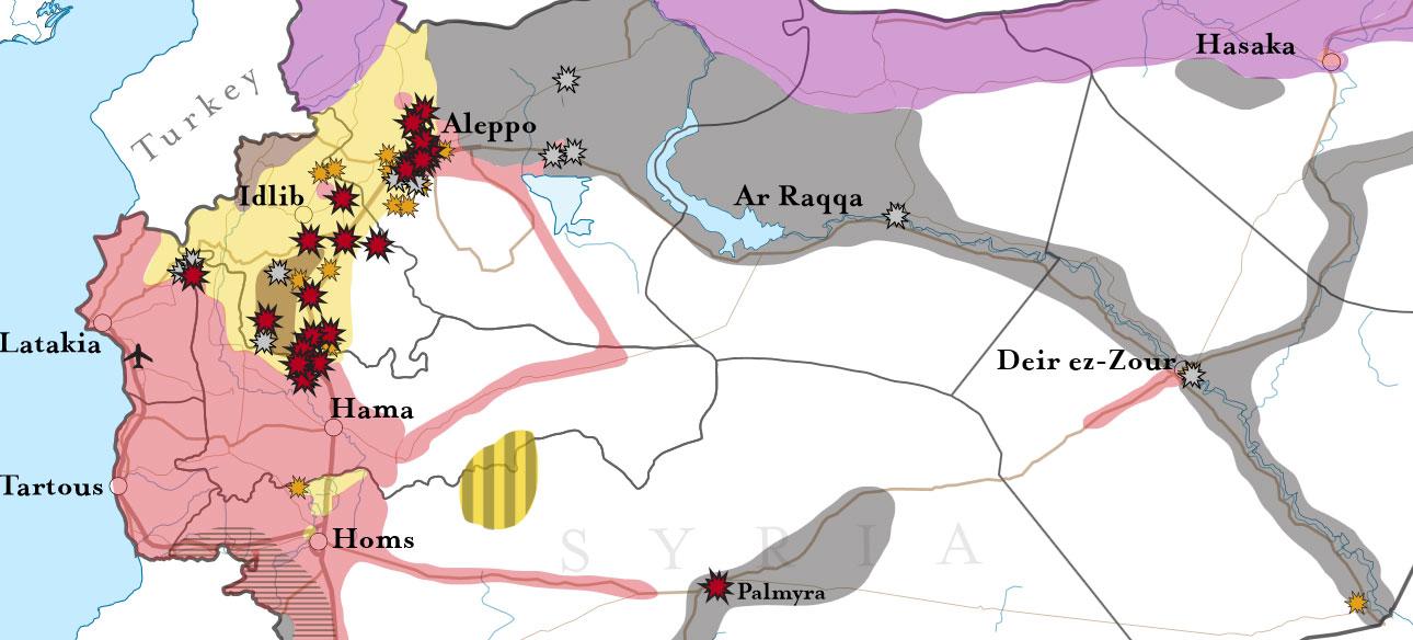 Карта мест основных авиа ударов российской авиации в Сирии с 2го по 12 ноября