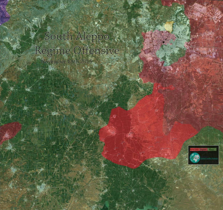 Карта, провинция Алеппо, результата наступления шиитские боевиков из Ирака, Ирана и Ливана против сирийских постанцев
