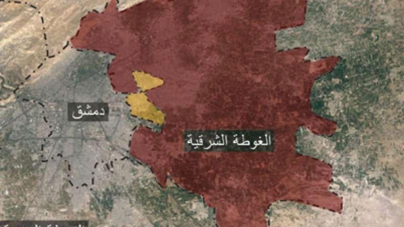Карта наступления сил Асада в Восточной Гуте (пригород Дамаска), результат за 15 дней наступления