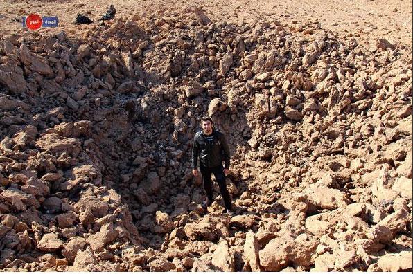 Результат взрыва российской крылатой ракеты Maarat an-Numan city (проживет 90.000 человек) северная Сирия, территория повстанцев