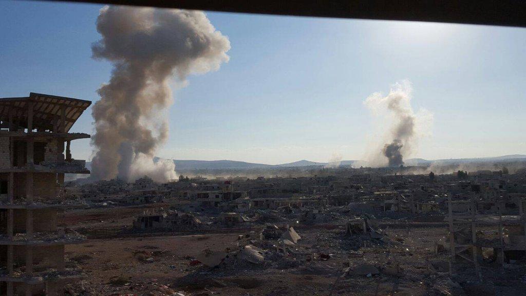 Авиа налет в Дараа, Сирия, территория повстанцев