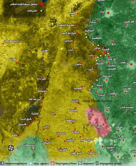 Карта предполагаемых мест столкновений сирийской оппозиции и курдских отрядов