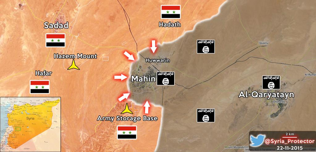 Сирийская армия Асада готовится к штурму христианского города Махин, который пару недель назад был захвачен ИГИЛ