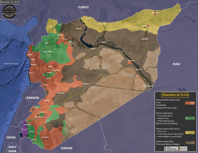 Карта Сирии по состоянию на 25 ноября 2015 года, расположение сторон конфликта (ИГИЛ, Асад, сирийская оппозиция, курды)
