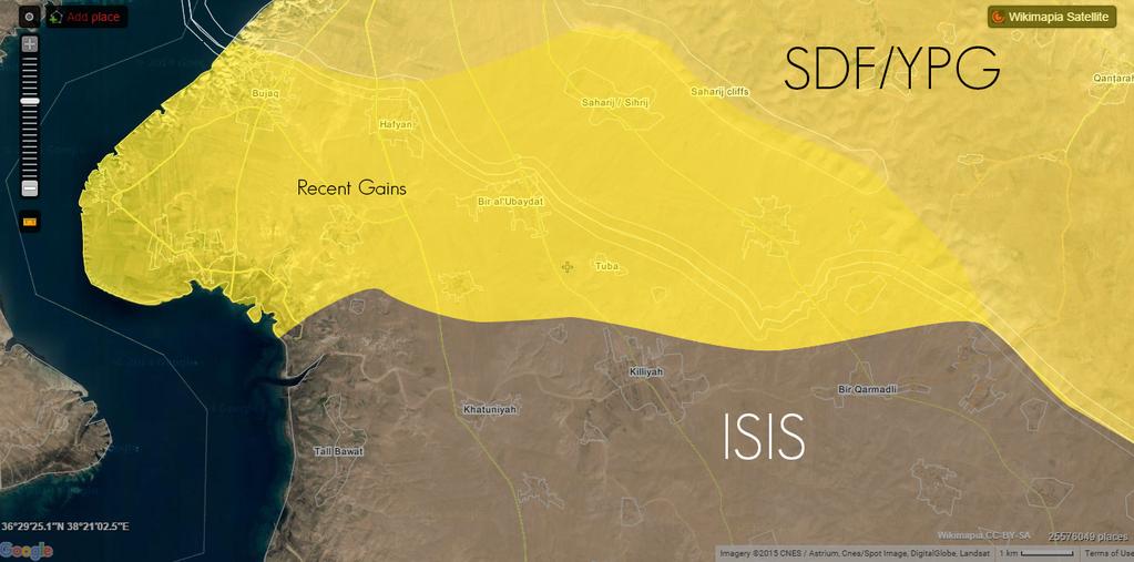 YPG/SDF наступает на ИГИЛ, из района курдских территорий Сирия