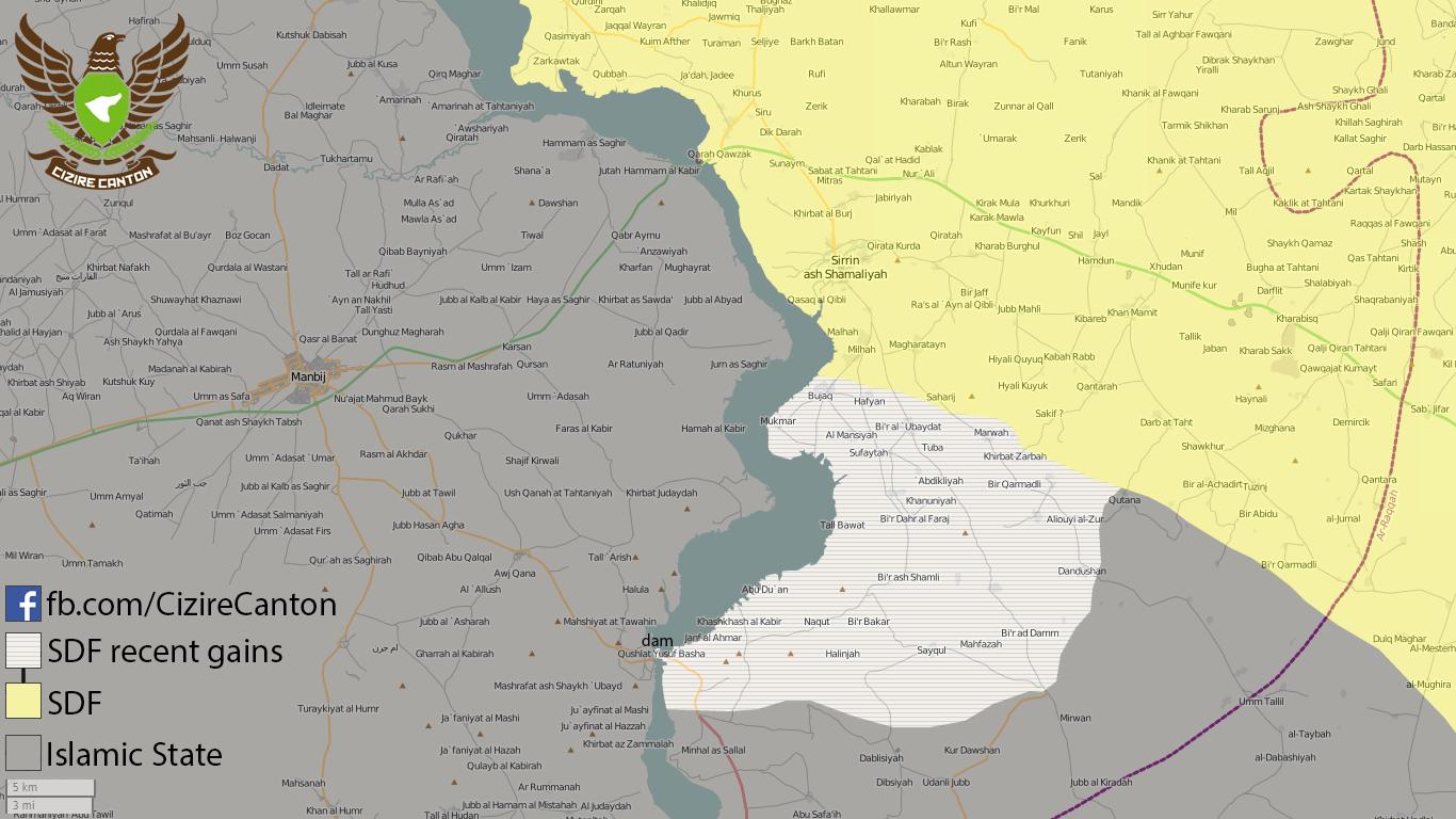 Карта результатов наступления SDF\YPG на Тишринскую плотину, Сирия
