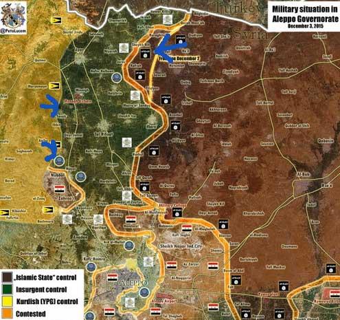 ИГИЛ захватила часть территорий сирийской оппозиции в Южном Алеппо, воспользовавшись наступлением курдов и авиа налетам РФ