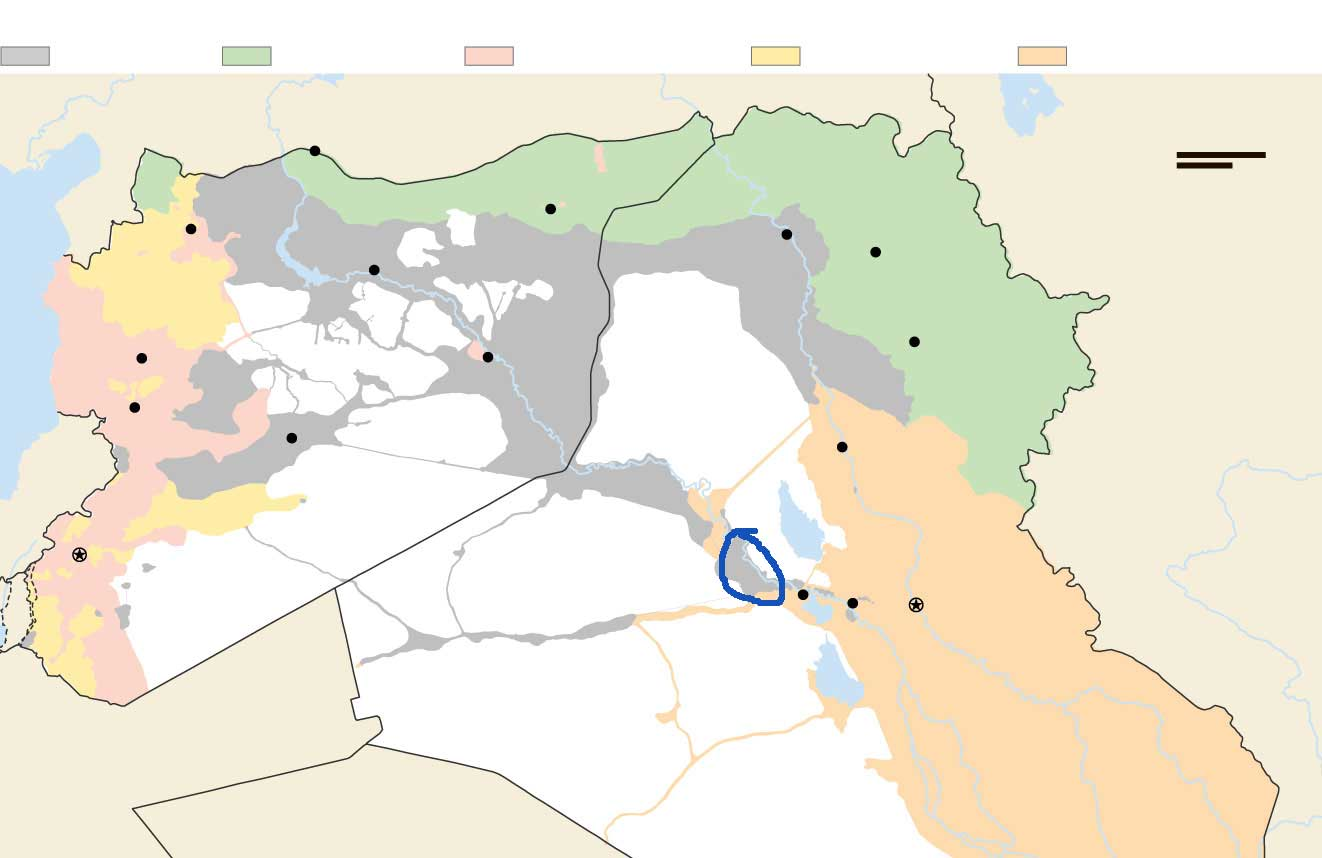 Расстановка сил в городе Рамади, ИРАК на карте