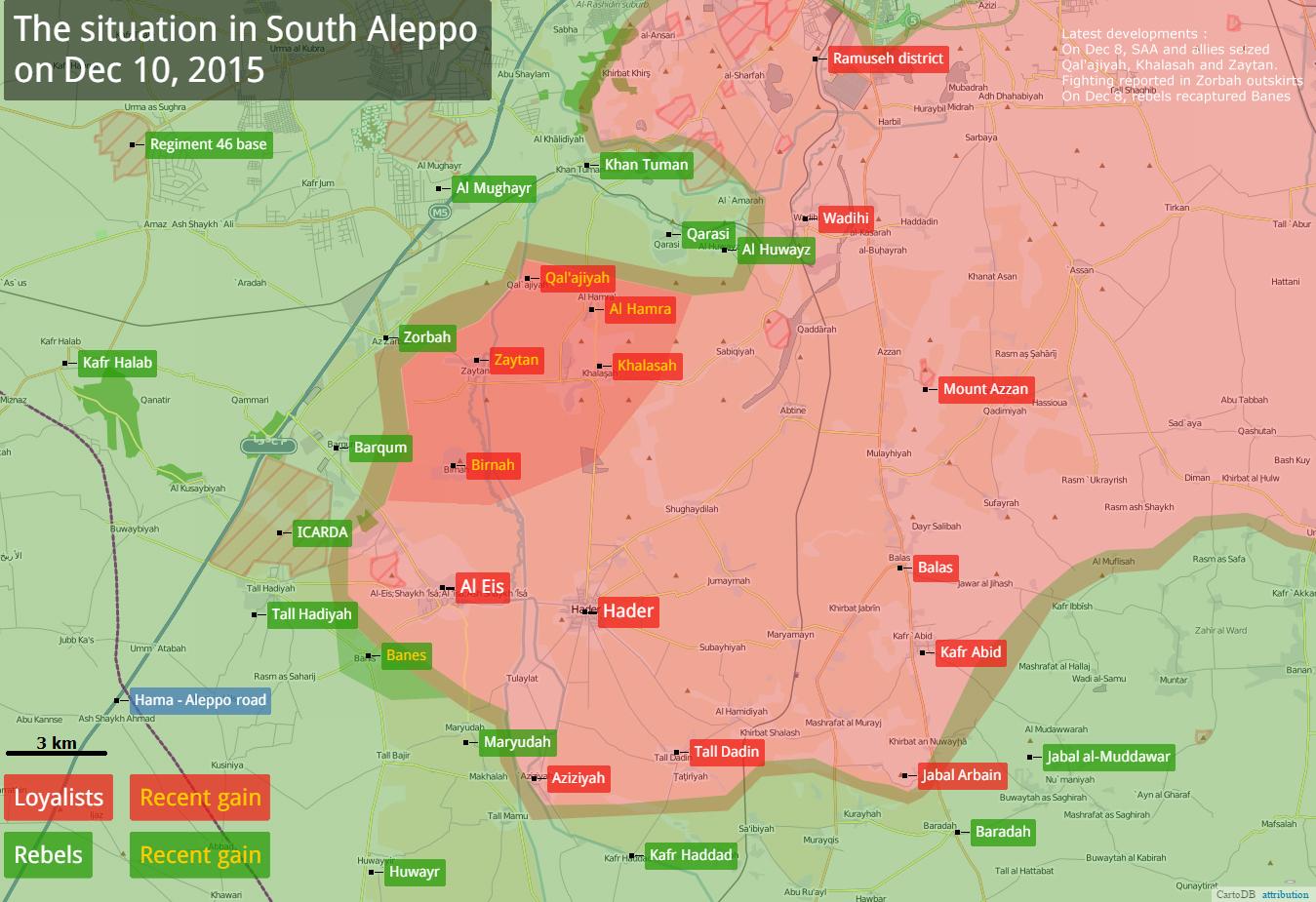 Масштабные боевые действия отражены на карте по состоянию на 10.12.2015 год.