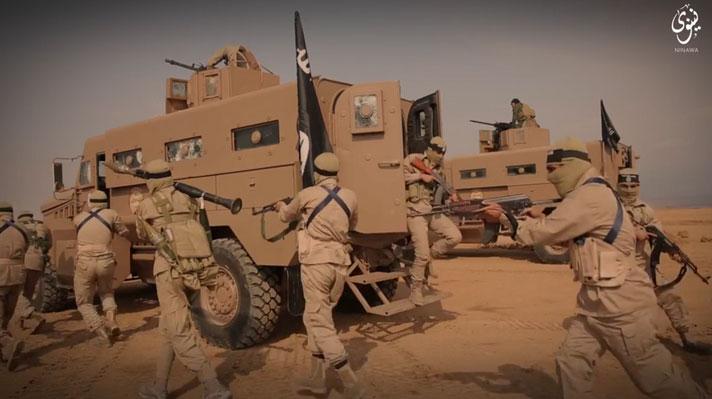 В учениях террористической организации ИГИЛ, активно применялась бронетехника: T-55s, Type-69s, MT-LBs, Badgers, BTS-5B 'battle bus', BTR-80UP.