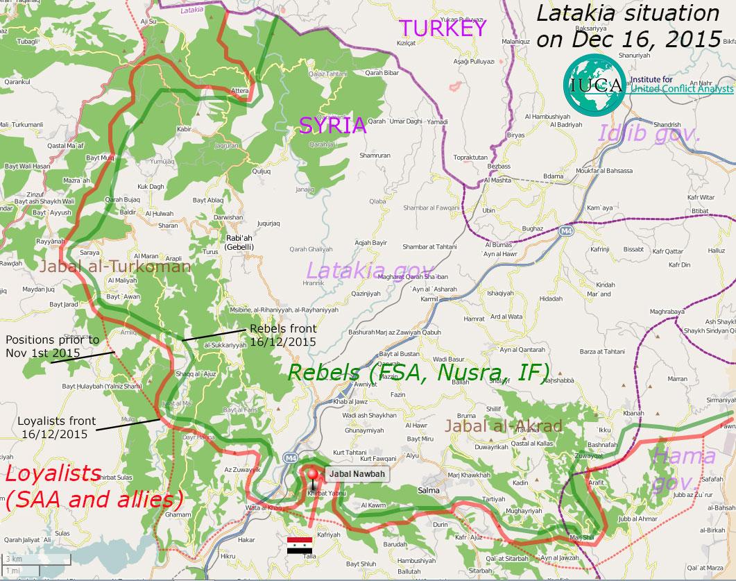 Карта военной ситуации в провинции Латакия