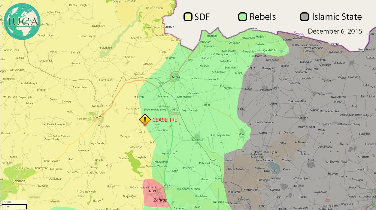 """Карта """"коридора"""" сирийской оппозиции в Южном Алеппо с расстановкой сил участников войны в Сирии"""