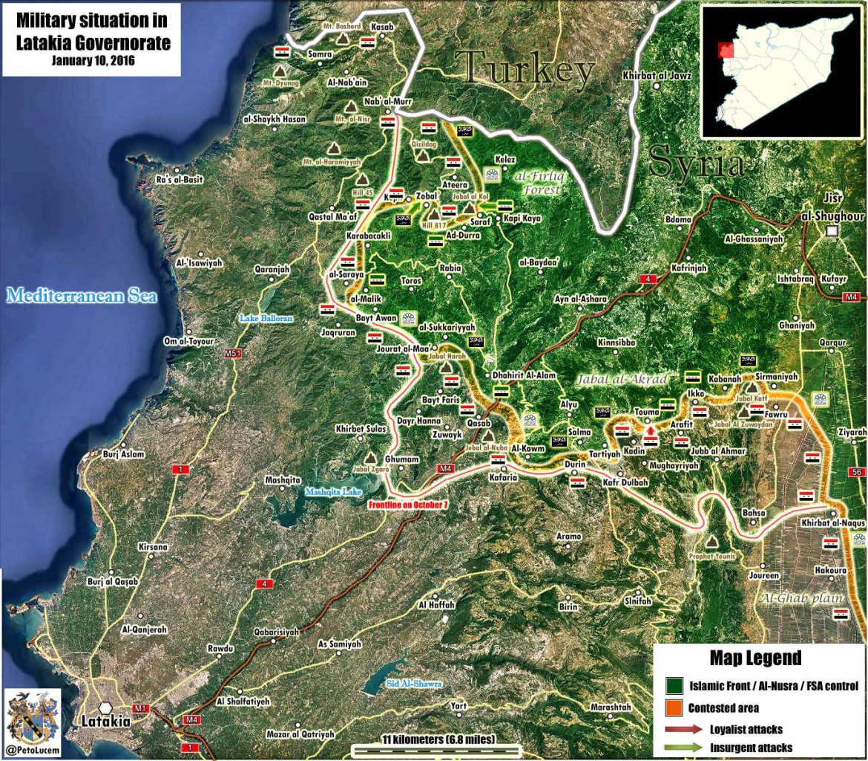 Карта Латакии, результат трех месечной операции России, Иран и Асада против ИГИЛ, захват часть территорий у сирийской оппозиции