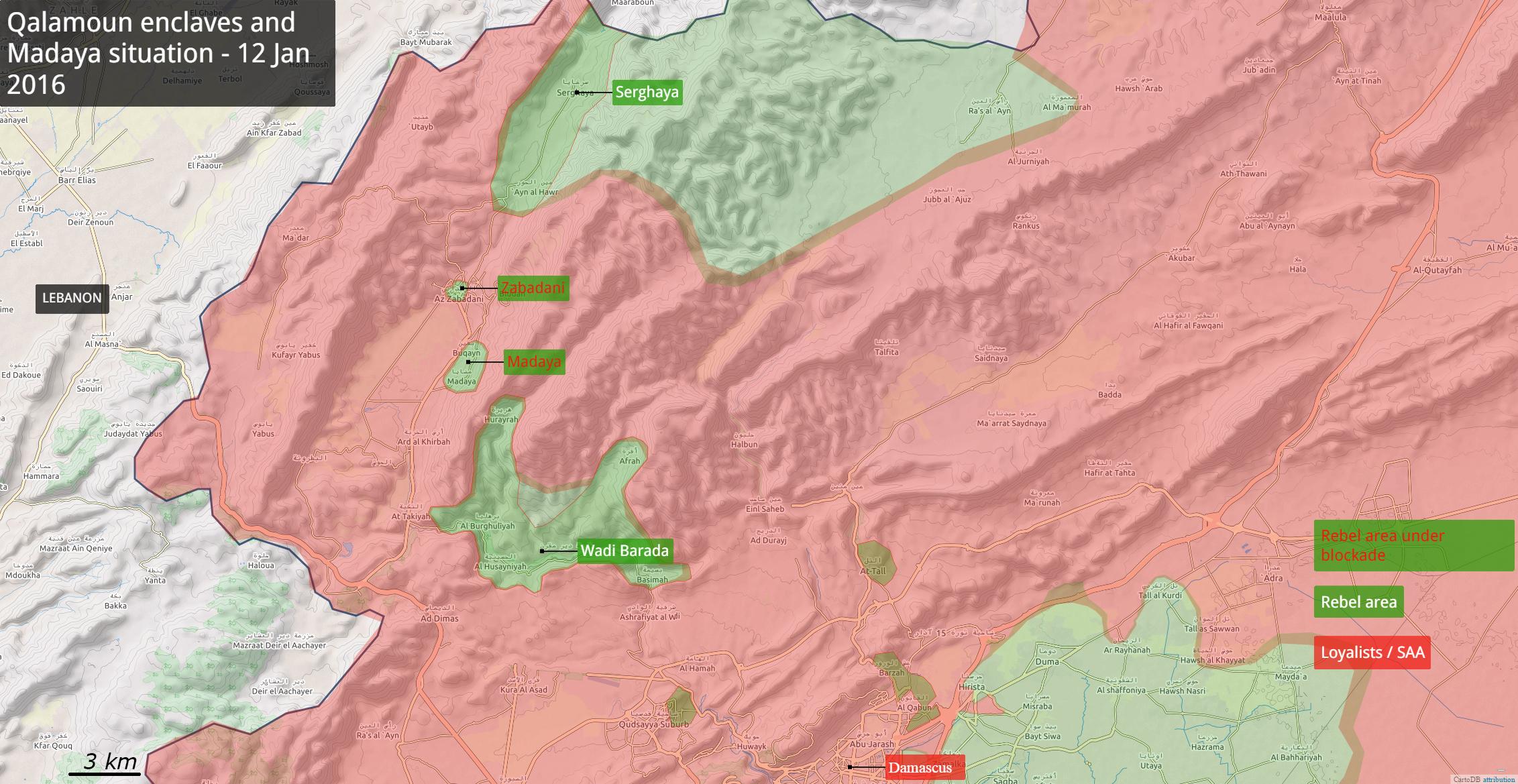 Общая карта малых анклавов сирийской оппозиции в Каламуне: Мадая, Забадани и прочее