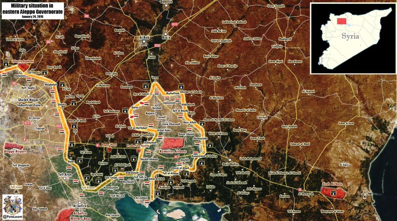 Карта: продвижение сил режима Асада в районе Алеппо, против ИГИЛ