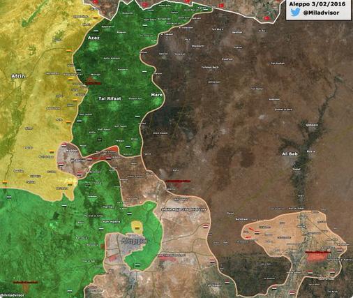 Успешное наступление шиитских боевиков режима Асада, в районе Алеппо, Сирия