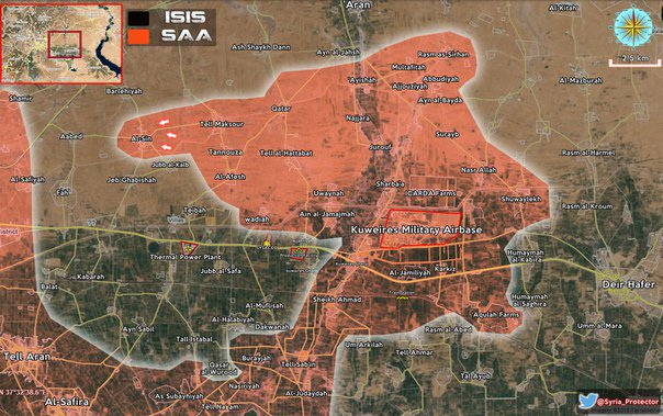 "Наступление сил Асада в районе ""кишки Кувейрис"" против ИГИЛ, провинция Алеппо, Сирия"