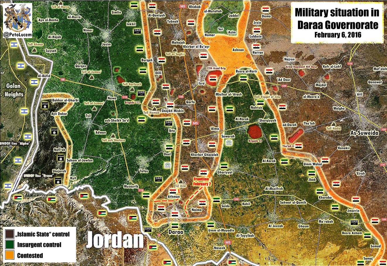 Последняя карта из провинции Дараа, где режима Асада при поддержки Ирана и России наступает на сирийскую оппозицию