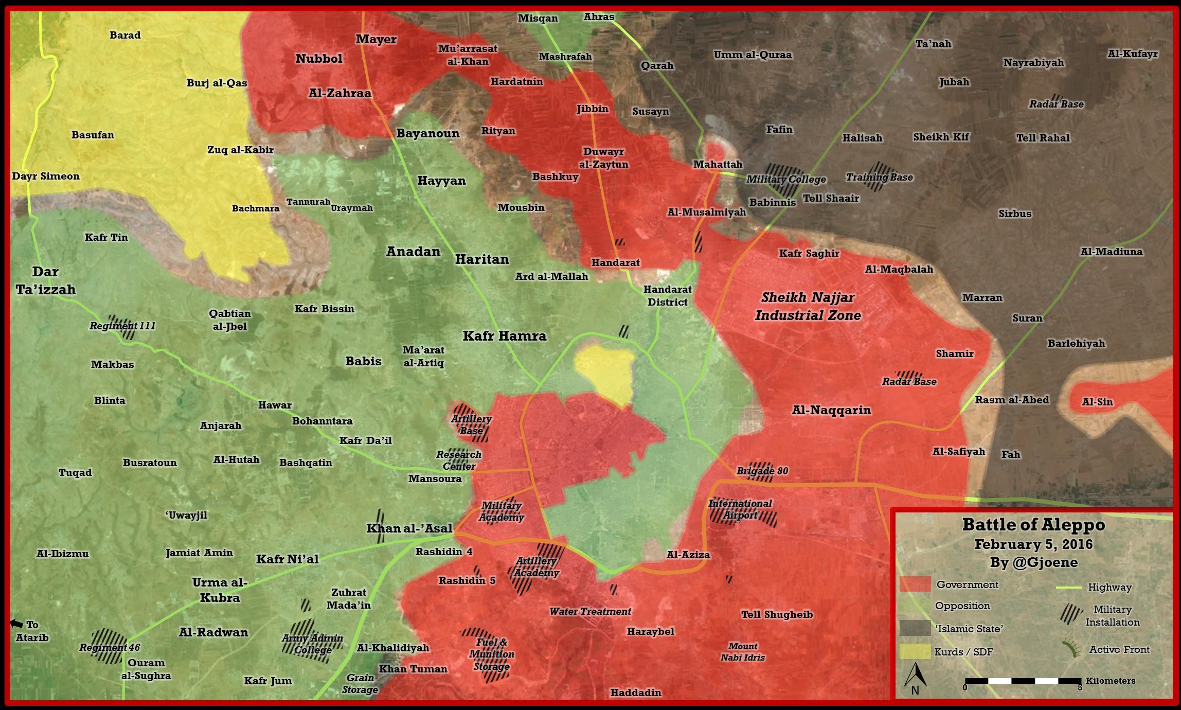 Карта наступления сил режима на сирийскую оппозицию в Алеппо, Сирия