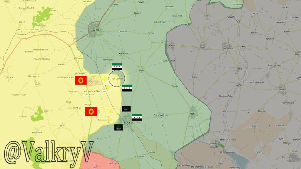 Карта, последняя военная ситуация в Северном Алеппо (коридор Азаз), где сирийская оппозиция ведет бои с курдами, ИГИЛ и силами Асада