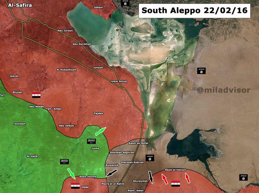 Карта ситуации в Алеппо, по состоянию на вечер 22.02.2016