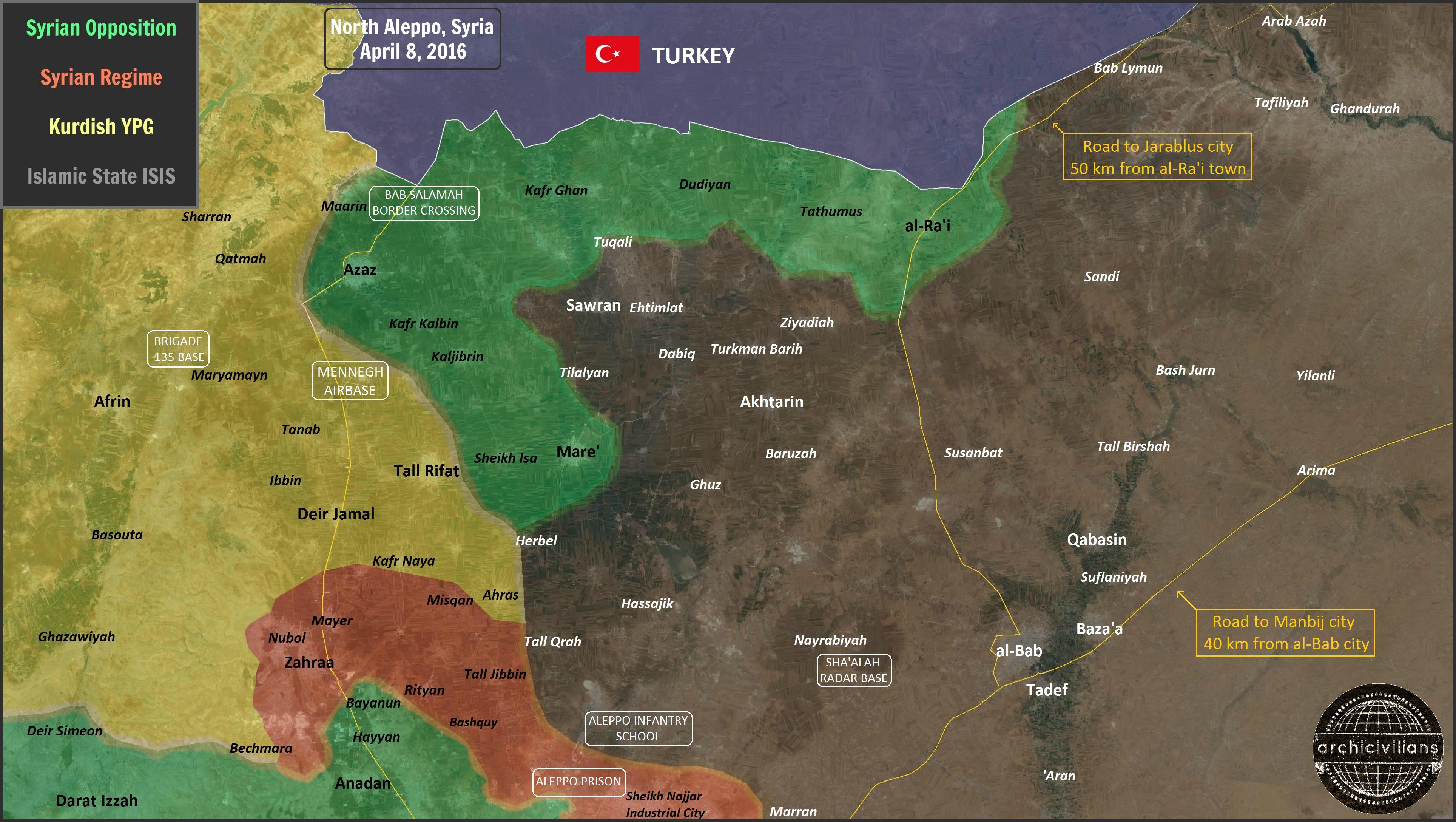 Новая карта Северного Алеппо, после захвата у ИГИЛ, города Аль-Рай
