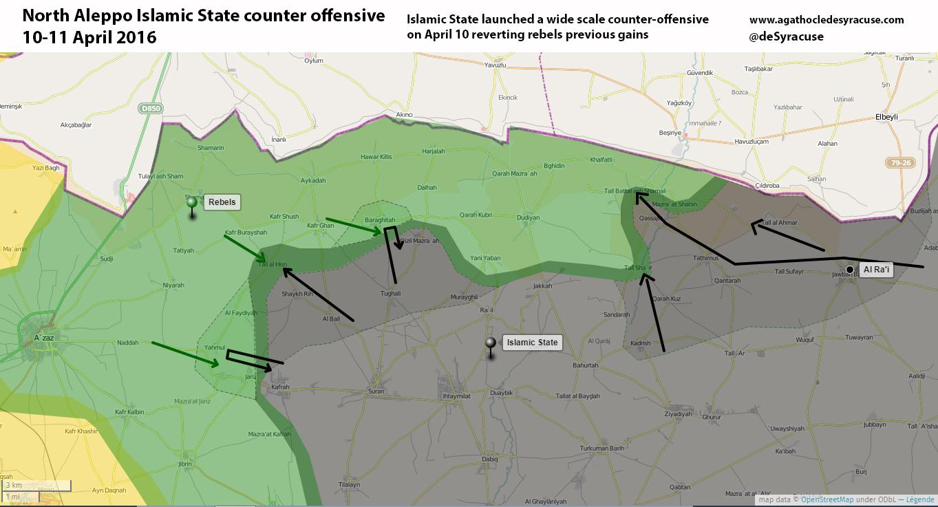 Новая карта Южного Алеппо, после контратаки боевиков ИГ против сирийской оппозиции