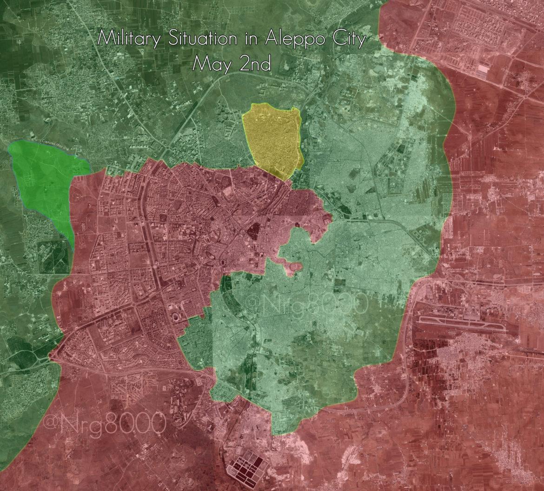 Карта города Алеппо, по состоянию на 2е мая