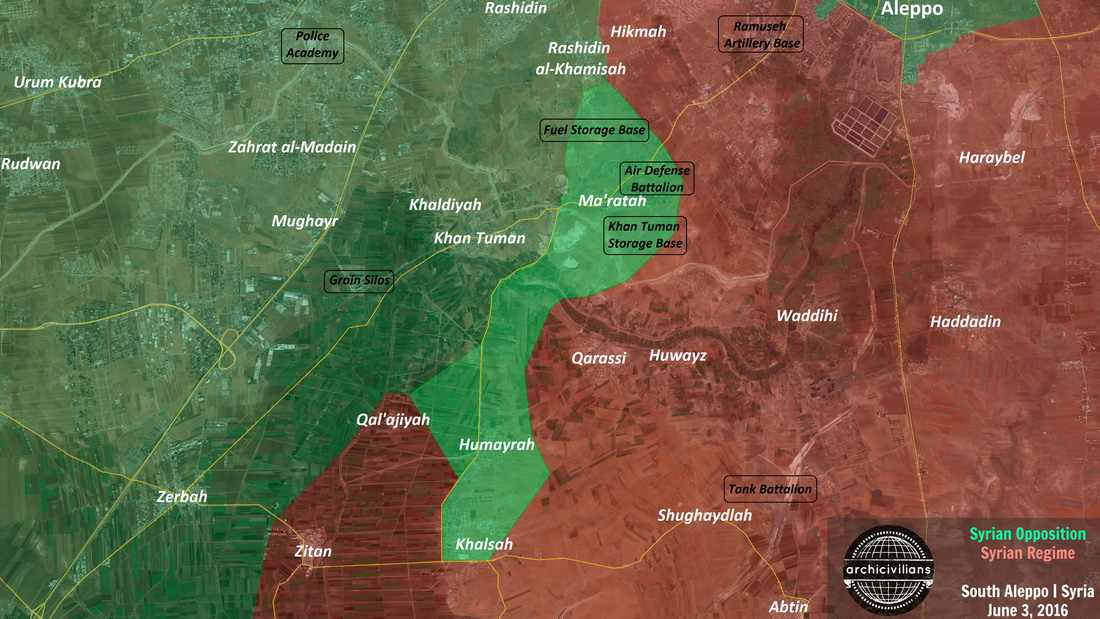 Наступление сил оппозиции в Алеппо, карта