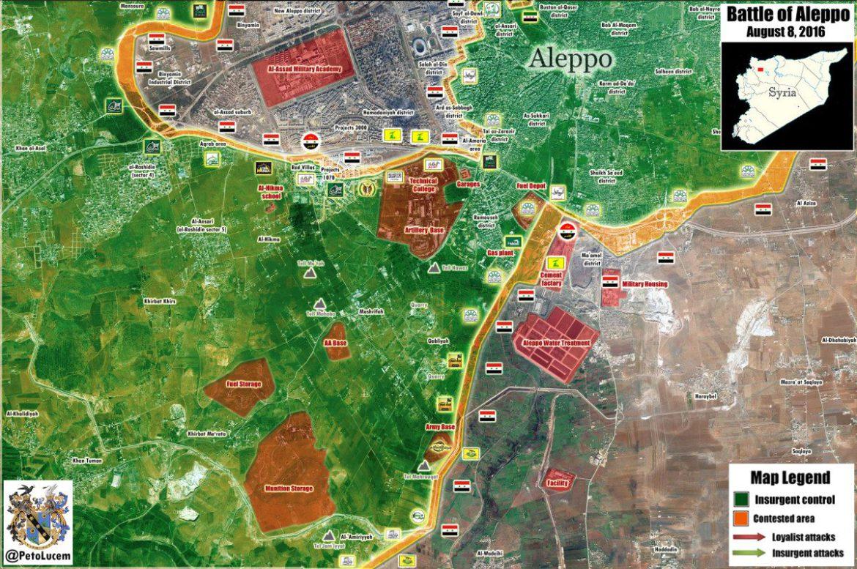 """Карта """"прорыва"""" сирийской оппозиции в город Алеппо, от 8 августа 2016 года"""