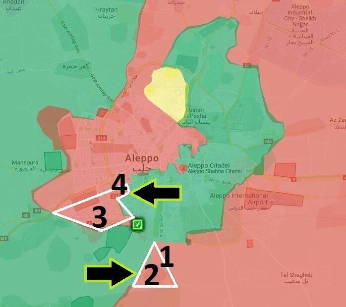 Карта активности сирийской оппозиции в городе Алеппо