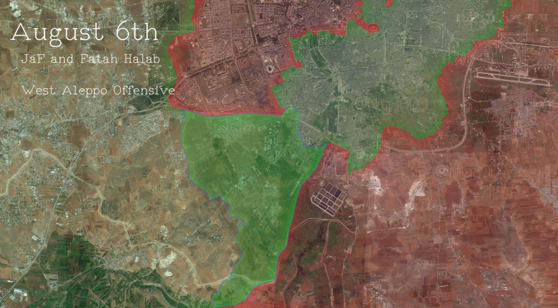 Примерная карта Южного Алеппо (город), в районе прорыва блокады города