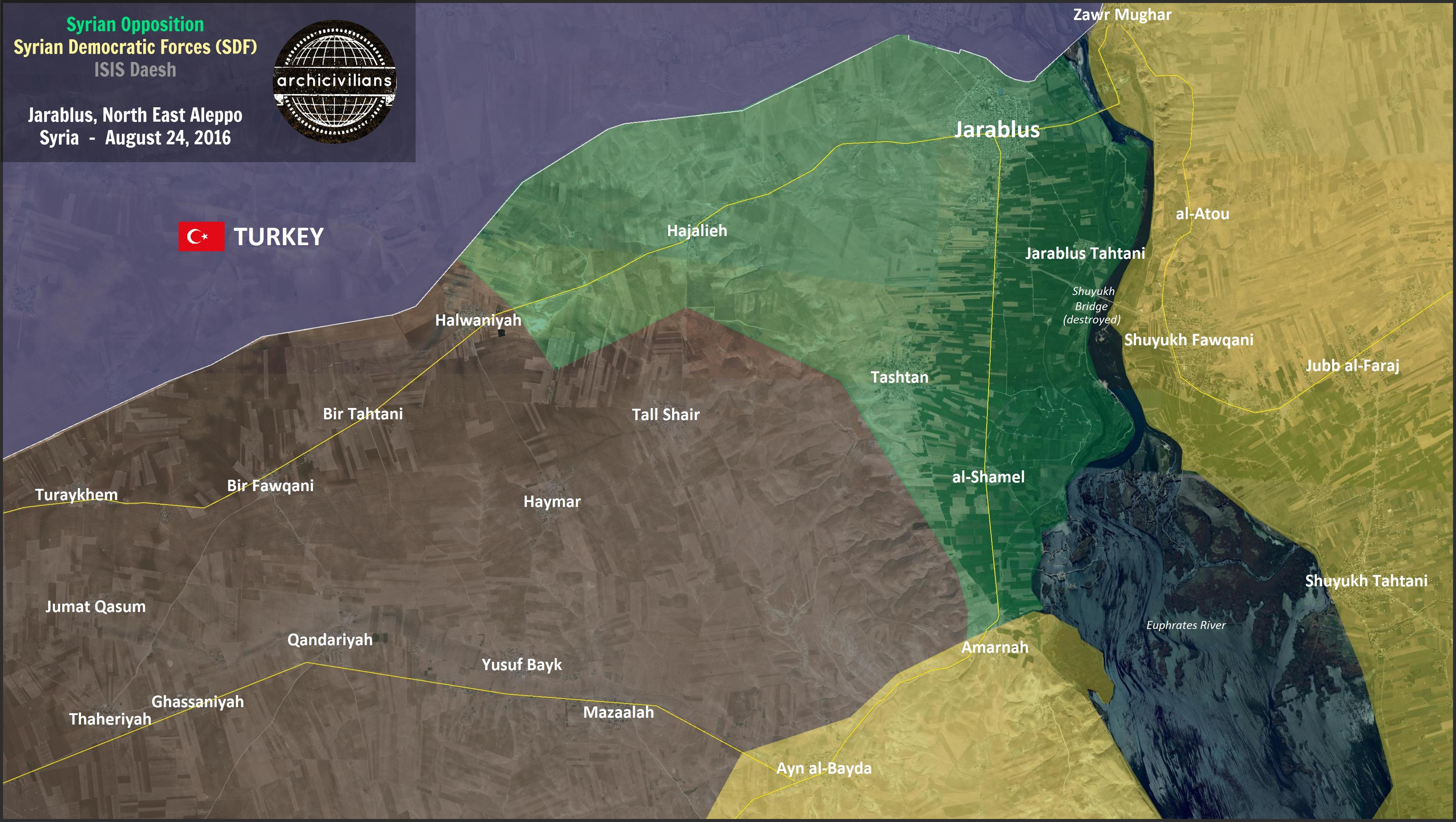 Новый фронт против ИГИЛ (запр. в РФ тер. орг), Яраблус в руках сирийской оппозиции