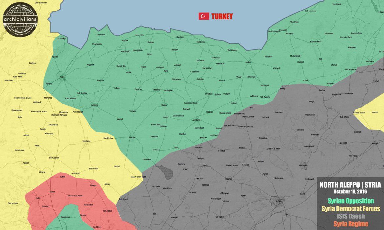 Карта захваченных территории в Северном Алеппо в результате наступления FSA и турецкой армии.