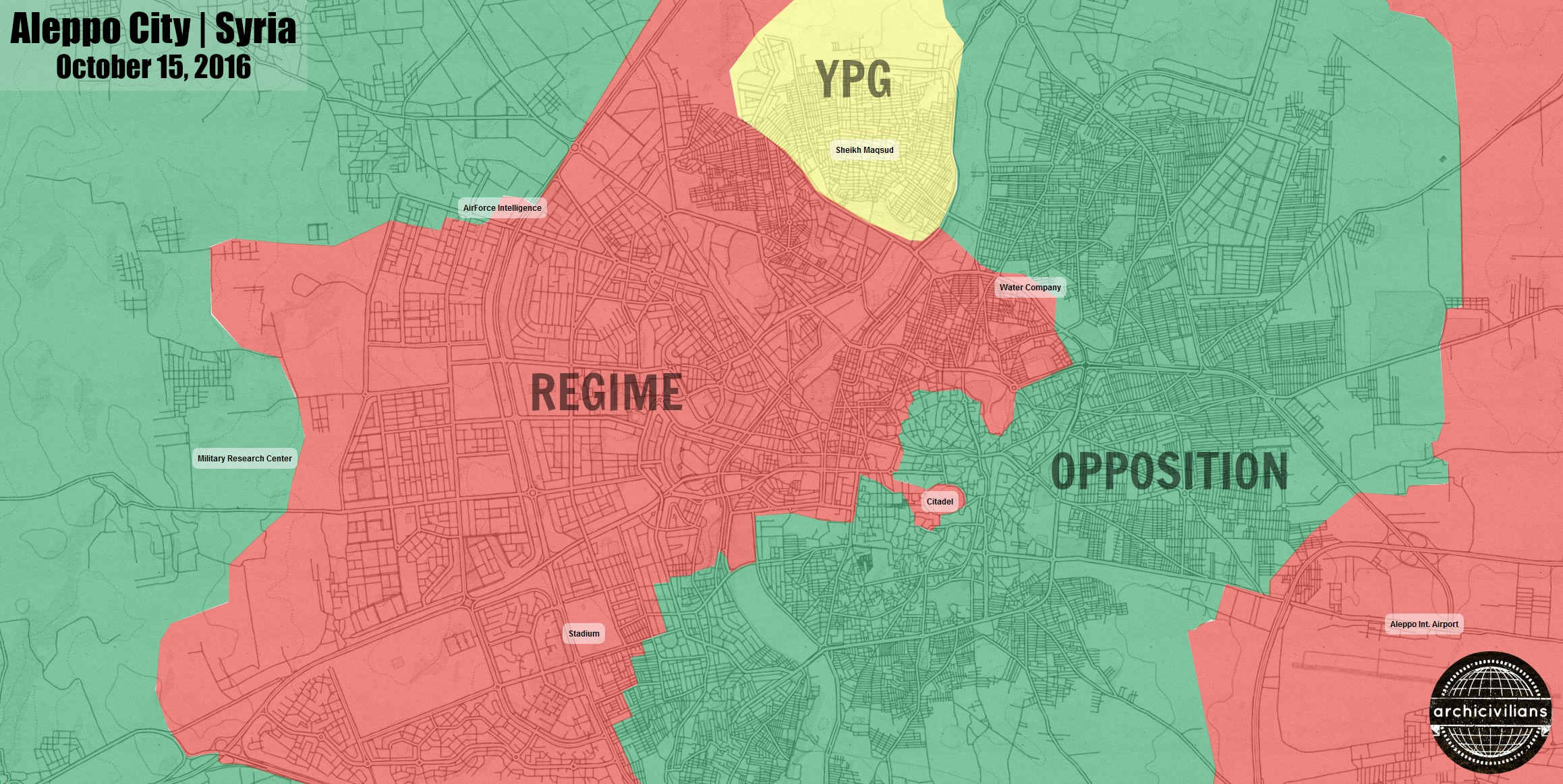 Битва за Алеппо, положение сил в городе: карта города