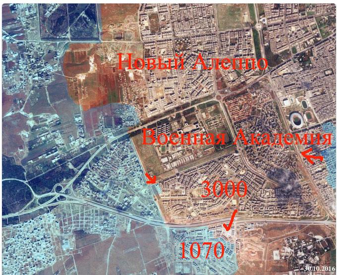 Положение сторон в Битве за Алеппо, вечер 30.10.2016