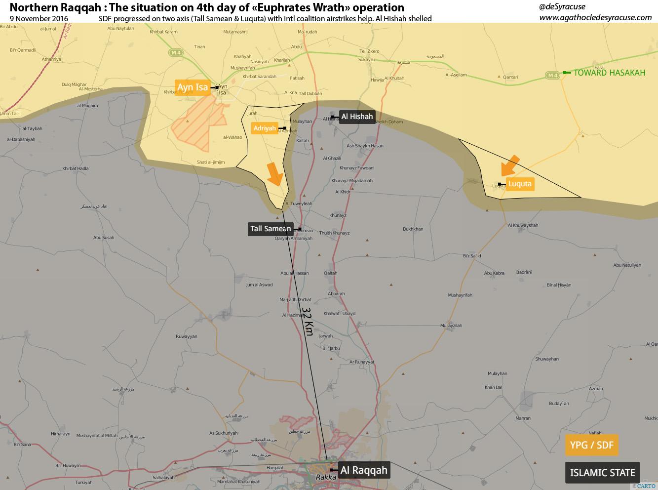 Карта: Наступление SDF на столицу ИГ в Сирии - Ракку