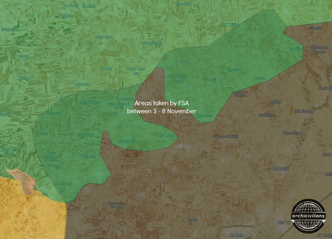 Карта: результат наступления сирийской оппозиции при поддержке Турции на город Аль-Баб